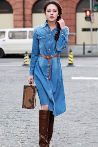 Fashion-Long-Denim-Dress